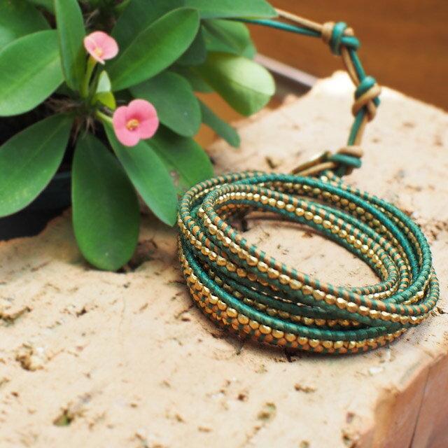 【現貨商品】【CHAN LUU】鍍金塊珠綠色皮繩手環/5圈 (CL-BG-1492-Berol  04744300BI) 1