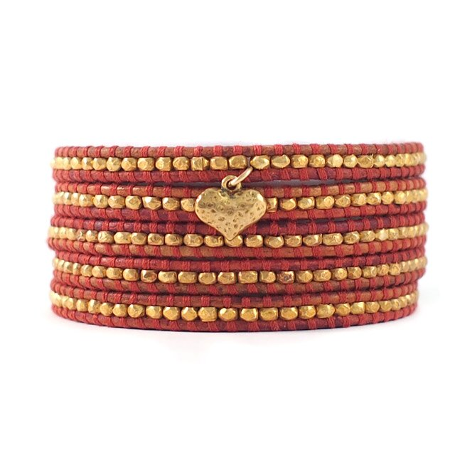 【現貨商品】【CHAN LUU】愛心鍍金銀塊珠暗紅色皮繩手環/5圈(CL-BG-2737GV-Esani  06158800BJ) 0