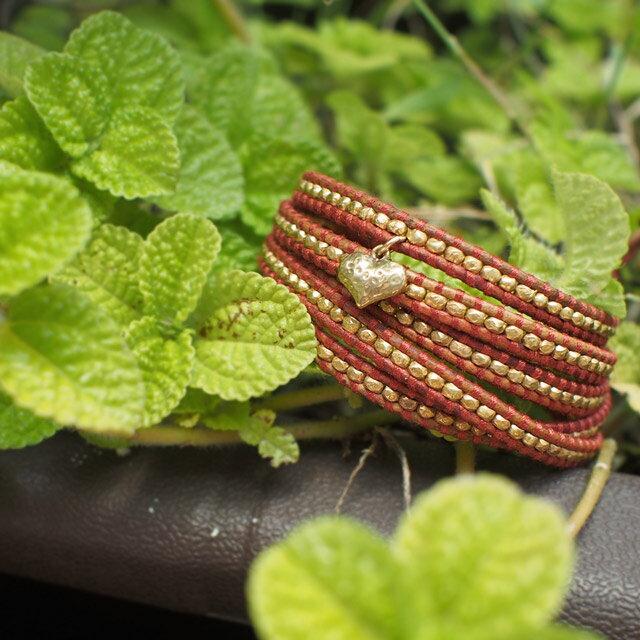 【現貨商品】【CHAN LUU】愛心鍍金銀塊珠暗紅色皮繩手環/5圈(CL-BG-2737GV-Esani  06158800BJ) 3