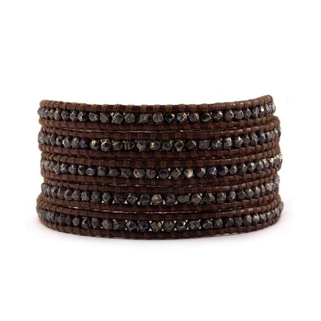 【現貨商品】【CHAN LUU】純銀做舊款塊珠棕色皮繩手環/5圈 (CL-BS-2097-Brown  0474550013) 0
