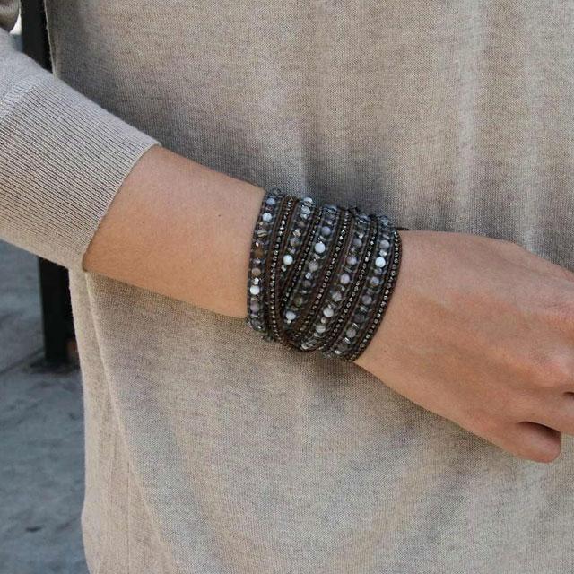 【現貨商品】【CHAN LUU】純銀做舊款塊珠棕色皮繩手環/5圈 (CL-BS-2097-Brown  0474550013) 2