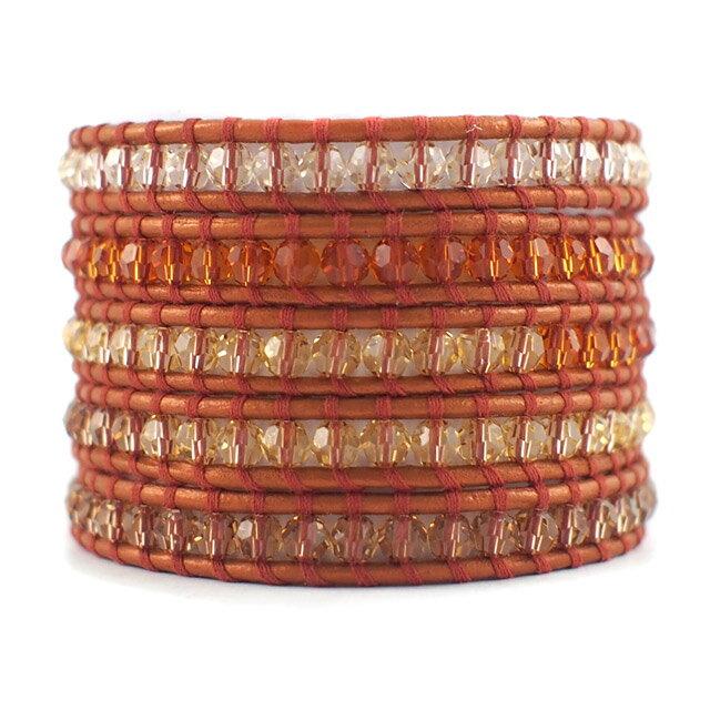 【現貨商品】【CHAN LUU】施華洛世奇水晶橘色皮繩手環/5圈 (CL-BS-2257OrangeMix-Dusty Brown  06235700HL) 0