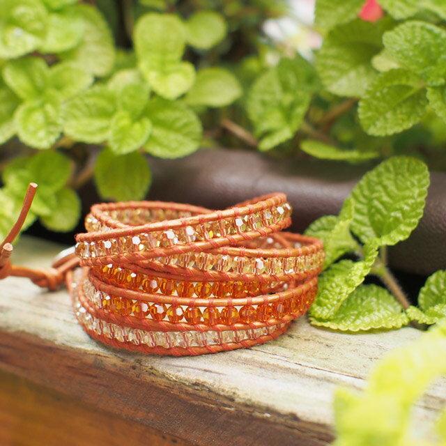 【現貨商品】【CHAN LUU】施華洛世奇水晶橘色皮繩手環/5圈 (CL-BS-2257OrangeMix-Dusty Brown  06235700HL) 1