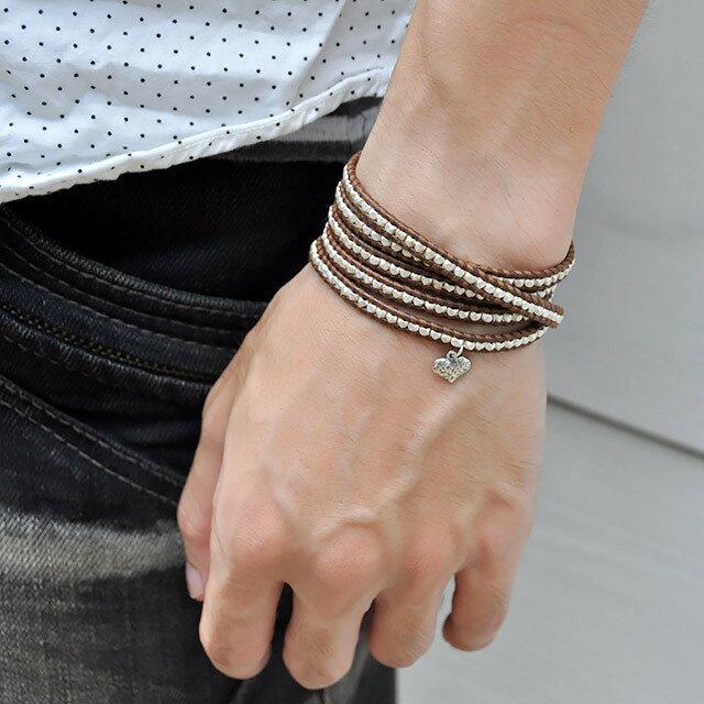 【現貨商品】【CHAN LUU】愛心純銀塊棕色皮繩手環/5圈 (CL-BS-2737Heart-Brown  0607150013) 3