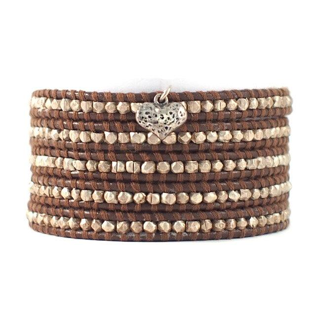 【現貨商品】【CHAN LUU】愛心純銀塊棕色皮繩手環/5圈 (CL-BS-2737Heart-Brown  0607150013) 0