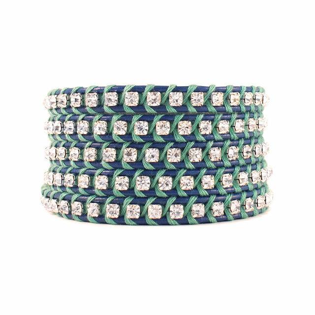 【現貨商品】【CHAN LUU】水鑽寶石寶藍色x螢光綠皮繩手環/5圈(CL-BSZ-3305Cry  Royal Blue / Mint Leaf  06239700KK) 0