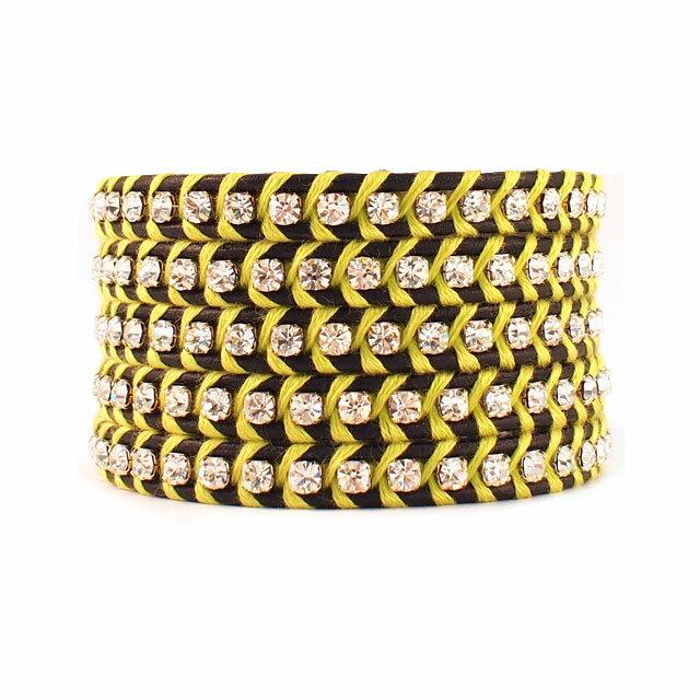 【現貨商品】【CHAN LUU】水鑽寶石黑色x螢光黃皮繩手環/5圈(CL-BSZ-3305CryCal  06246900IC) 0