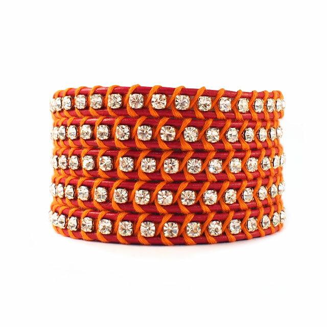 【現貨商品】【CHAN LUU】水鑽寶石紅色x螢光橘皮繩手環/5圈(CL-BSZ-3305Cry  Red/Neon Orenge  06239700KL) 0