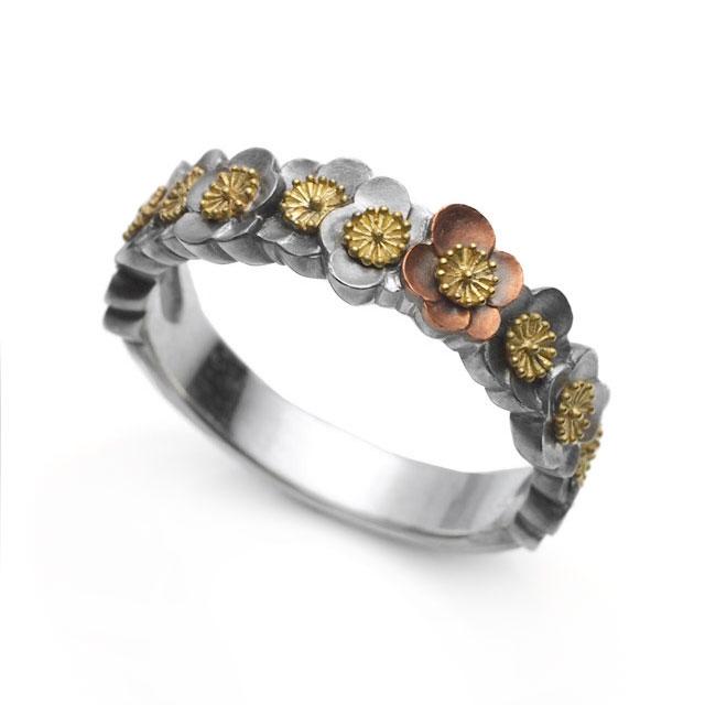 【海外訂購】【GLENN】梅花環純銀戒指(GL-0081) 0