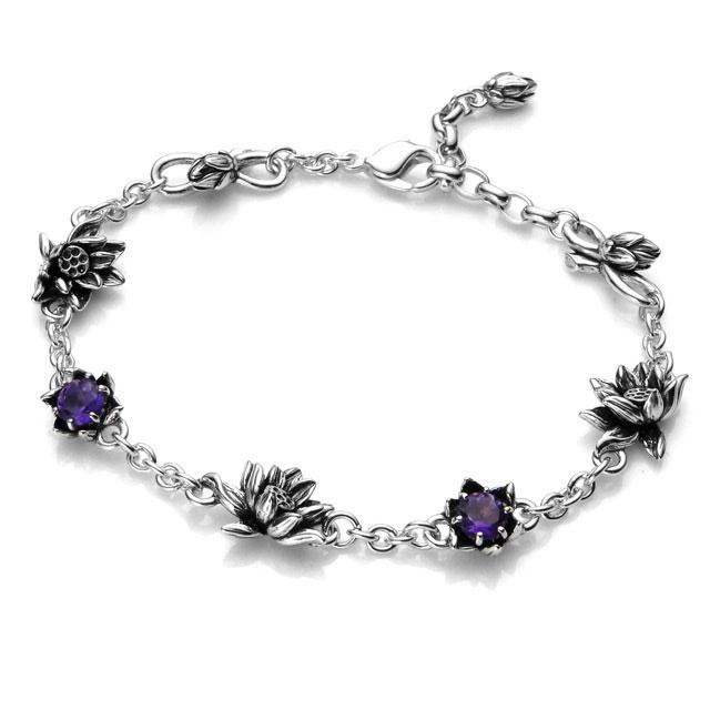 【海外訂購】【KONRON】花開紫水晶純銀手鍊(KRBCB1072-A  0552120000) 0