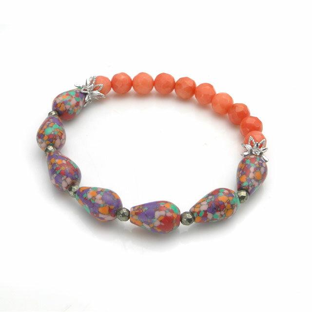 【海外訂購】【KONRON】繽紛橘色陶瓷珠寶石花朵珠珠手鍊(KRBCB1314-Ceoemix  0640720000) 0