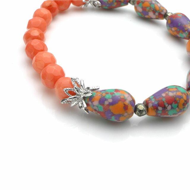 【海外訂購】【KONRON】繽紛橘色陶瓷珠寶石花朵珠珠手鍊(KRBCB1314-Ceoemix  0640720000) 4