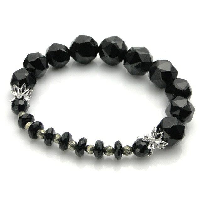 【現貨商品】【KONRON】繽紛黑瑪瑙花朵珠珠手環(KRBCB1314-Omix  0640710000) 0