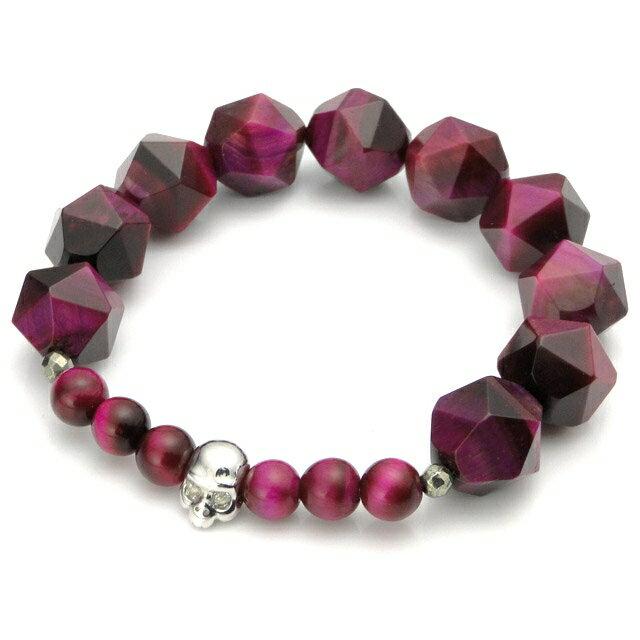 【海外訂購】【KONRON】寶石骷髏粉紅色虎眼石手環(KRBCB1316-Ptemix  0640820000) 0