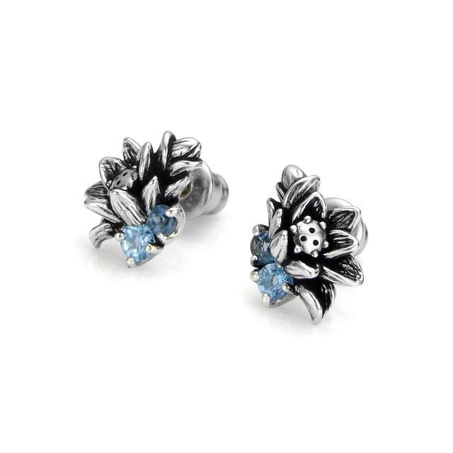 【海外訂購】【KONRON】花開藍托帕石純銀耳環(KRBCE1076-BtLbt  0592020000) 0