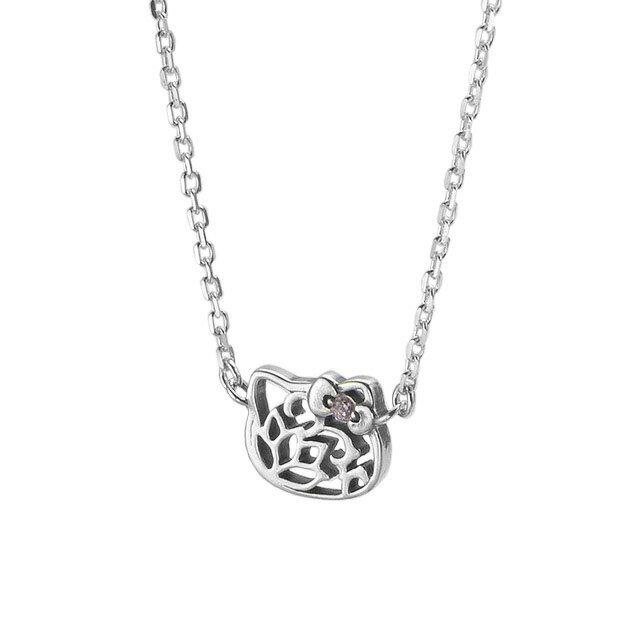 【現貨商品】【KONRON】Hello Kitty經典LOGO純銀項鍊(KRBCN0001-Cz-CZ(Pink)  07745700I4) 0