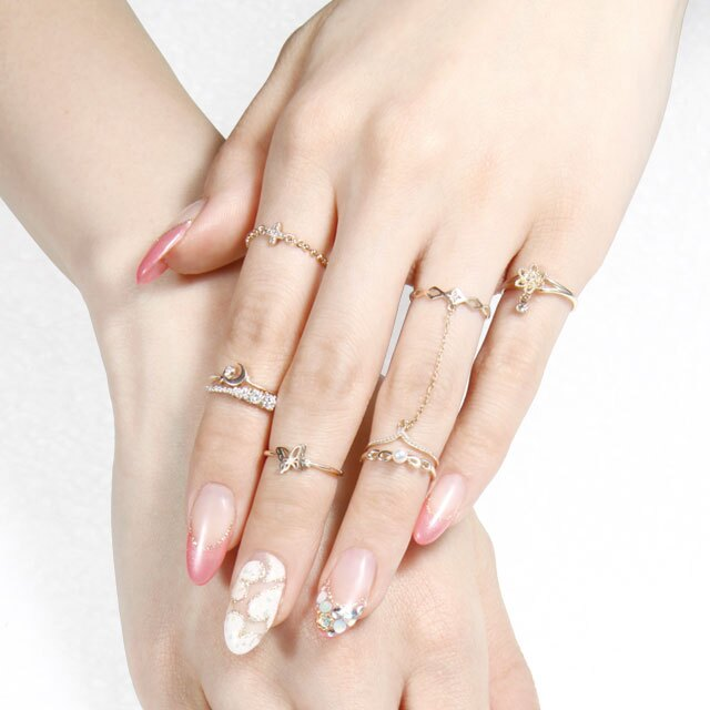 【海外訂購】【KONRON】楊貴妃系列 迷蝶鑲鑽K金指節戒指(KRBCR0003-k10-D) 1