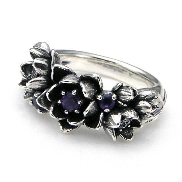 【海外訂購】【KONRON】花滿開紫水晶純銀戒指 (KRBCR1064-A) 0