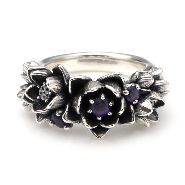 【海外訂購】【KONRON】花滿開紫水晶純銀戒指 (KRBCR1064-A) 1