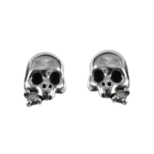 【海外訂購】【KONRON】Baby skull 鑽石骷髏純銀耳環(KRE0378-D  0165470000) 0