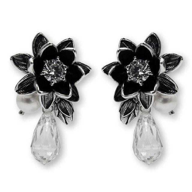 【海外訂購】【KONRON】小公主花朵寶石純銀耳環-白色(KRE0537-Cz-Clear  02482200Q8) 0