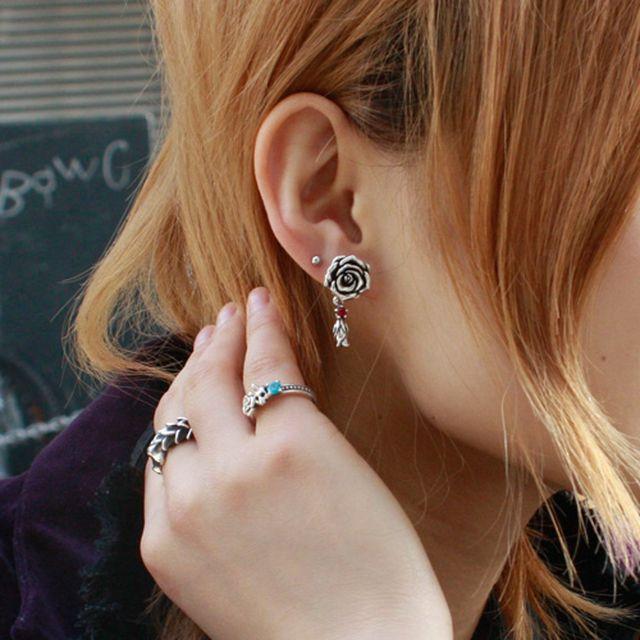 【現貨商品】【KONRON】我愛玫瑰純銀耳環(KRE0725A-Cz-Red  03739600G2) 2