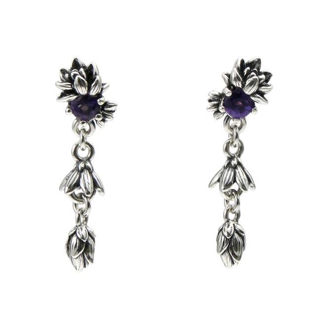 【海外訂購】【KONRON】迎風蓮花紫水晶純銀耳環 (KRBCE1070-A  0552000000) 0