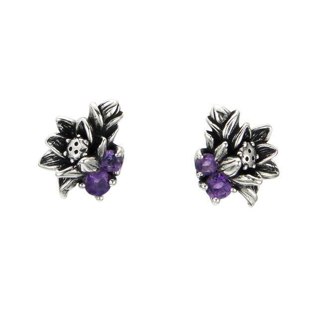 【海外訂購】【KONRON】花開紫水晶純銀耳環(KRBCE1076-A  0552100000) 0