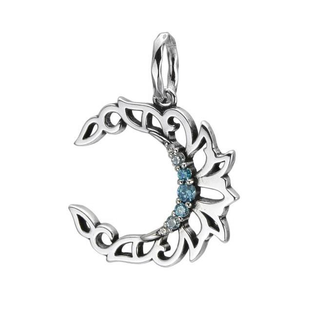 【海外訂購】【KONRON】水藍寶石新月純銀墜飾(KRBCP1171-Cz  0595440000) 0