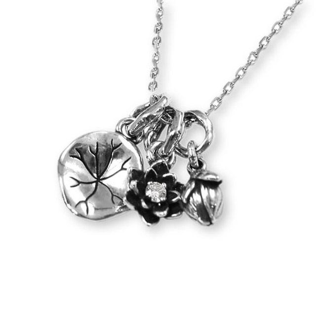 【海外訂購】【KONRON】寶石露水蓮花鑽石純銀項鍊(KRP0549-D  0263910000) 0
