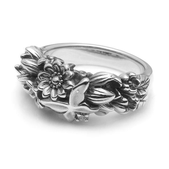 【海外訂購】【KONRON】繽紛花蝴蝶鑽石純銀戒指(KRR0298-D) 0
