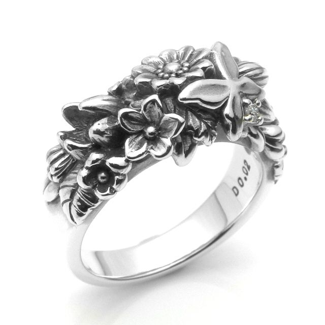 【海外訂購】【KONRON】繽紛花蝴蝶鑽石純銀戒指(KRR0298-D) 1