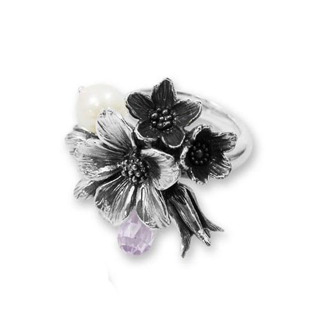 【海外訂購】【KONRON】花滿開閃耀純銀戒指-紫色(KRR0437-CZ-Lavender) 0