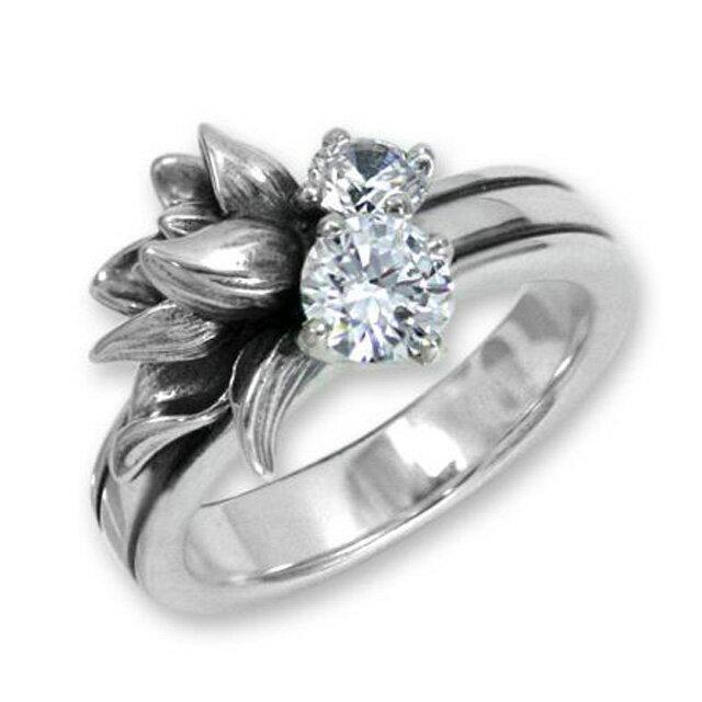 【海外訂購】【KONRON】小確幸花中寶石純銀戒指-白色(KRR0448-CZ-Clear) 0