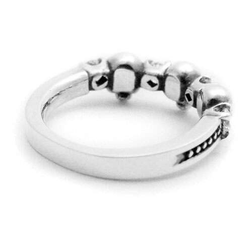 【海外訂購】【KONRON】閃亮骷髏甜美個性純銀戒指-白色(KRR0590-cz-cl) 1