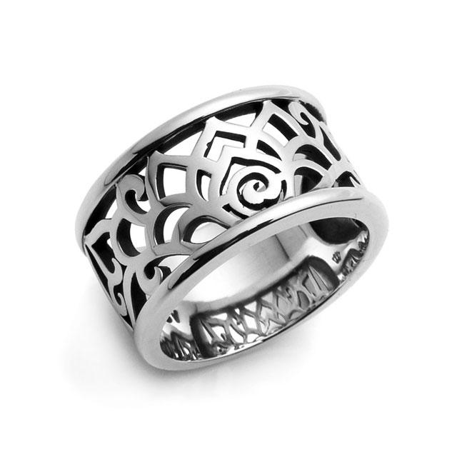 【海外訂購】【KONRON】鏤空蓮花圖樣純銀戒指(KRR1021) 0