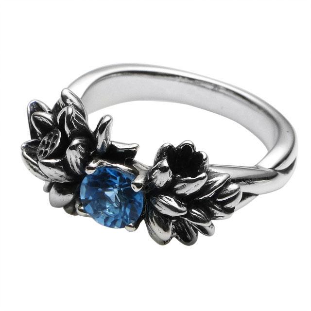 【現貨商品】【KONRON】花中雨寶石純銀戒指(KRBCR1073-Swbt) 1