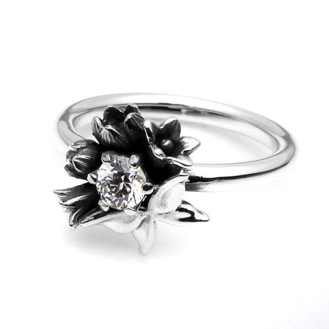 【海外訂購】【KONRON】花之蝶寶石純銀戒指(KRR0439-Cz) 0