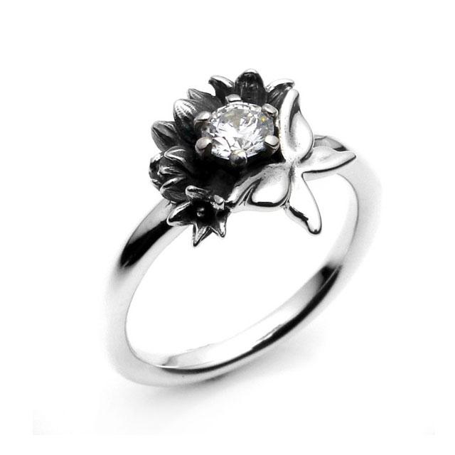 【海外訂購】【KONRON】花之蝶寶石純銀戒指(KRR0439-Cz) 1