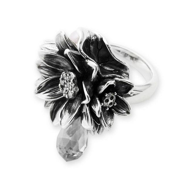 【海外訂購】【KONRON】公主珍珠花朵寶石純銀戒指-白色(KRR0535-cz-Clear) 0