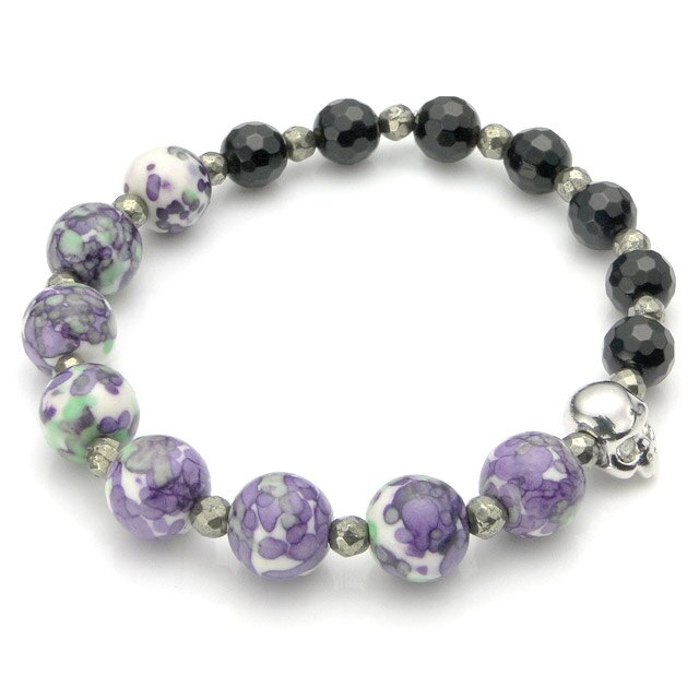 【海外訂購】【KONRON】Baby Skull 繽紛寶石骷髏珠珠手鍊(紫色陶瓷珠)(KRBCB1316-Cepemix  0640800000) 0