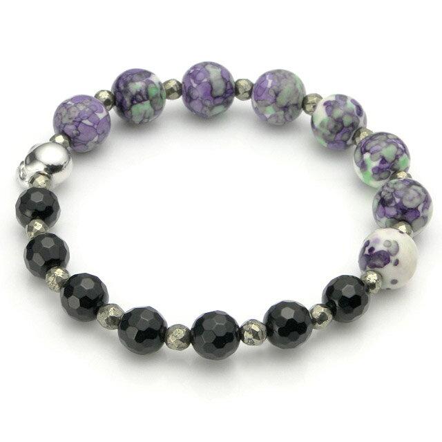 【海外訂購】【KONRON】Baby Skull 繽紛寶石骷髏珠珠手鍊(紫色陶瓷珠)(KRBCB1316-Cepemix  0640800000) 1