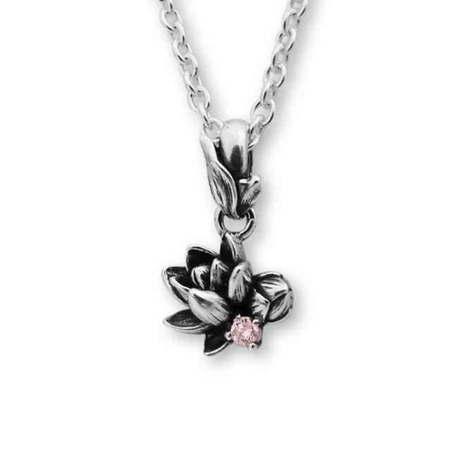 【現貨商品】【KONRON】甜美公主花開粉鑽純銀項鍊(KRP0547-pd  0263880000) 0