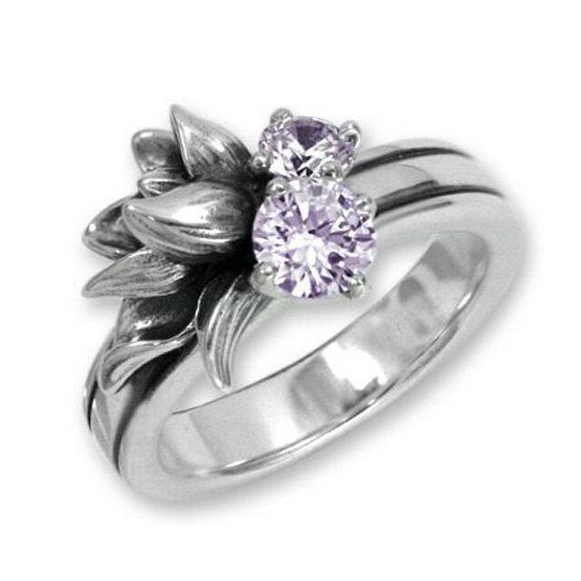 【海外訂購】【KONRON】小確幸花中寶石純銀戒指-紫色(KRR0448-CZ-Lavender) 0