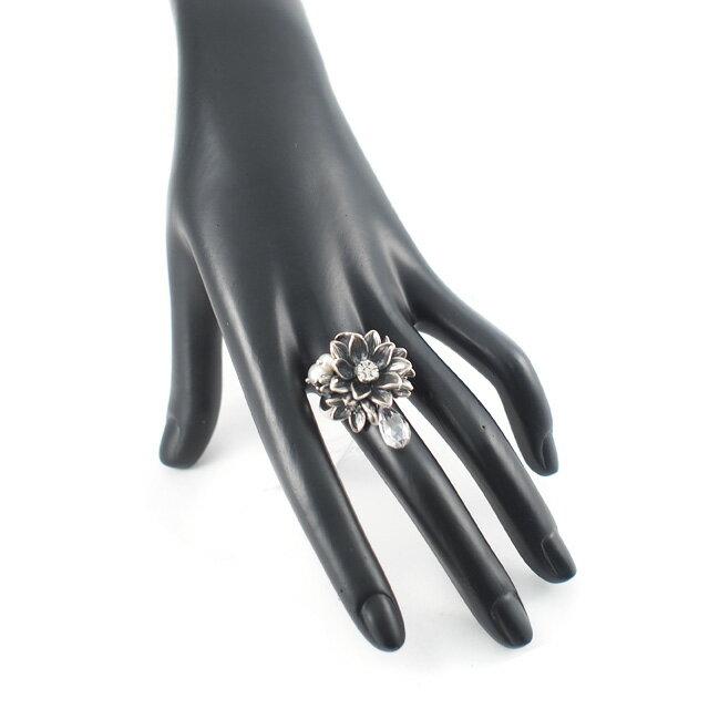 【海外訂購】【KONRON】公主珍珠花朵寶石純銀戒指-白色(KRR0535-cz-Clear) 2