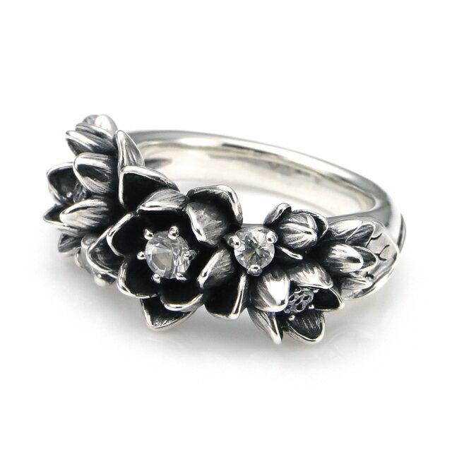 【海外訂購】【KONRON】花滿開托帕石純銀戒指 (KRBCR1064-Wt) 0