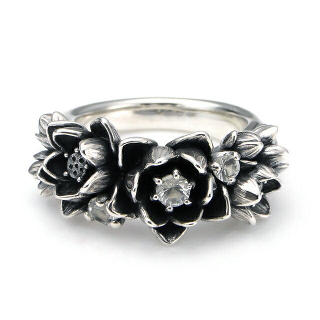 【海外訂購】【KONRON】花滿開托帕石純銀戒指 (KRBCR1064-Wt) 1