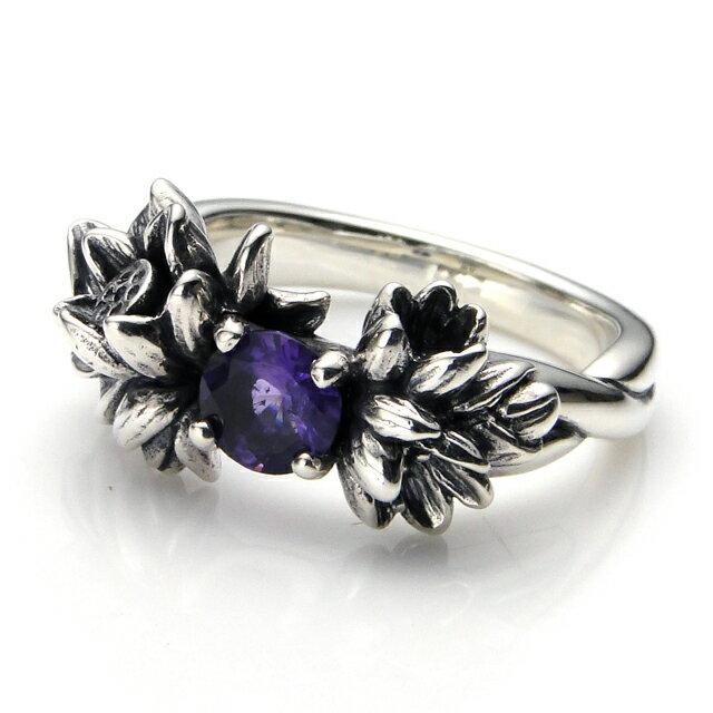 【海外訂購】【KONRON】落花紫水晶純銀戒指(KRBCR1073-A) 0