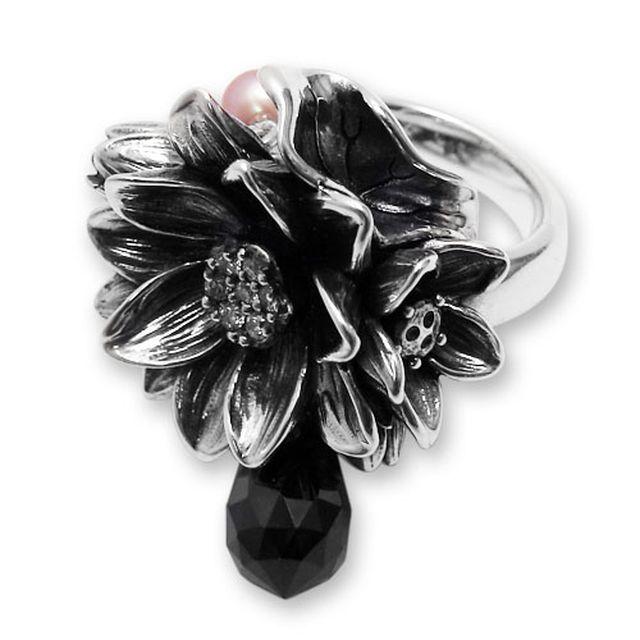 【海外訂購】【KONRON】公主珍珠花朵寶石純銀戒指-黑色(KRR0535-cz-Black) 0