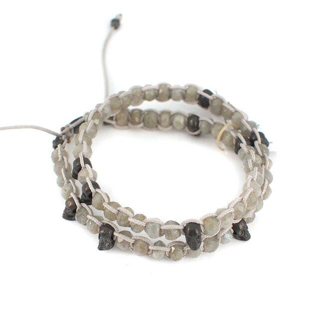 【現貨商品】【M.Cohen】純銀骷髏玄武岩白色手環 (MC-B-10109-Labradorite  06312300NC) 0